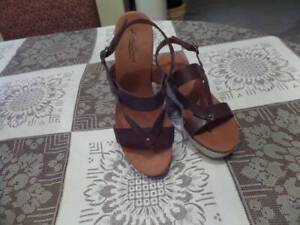 Lucky-Brand-Brown-Leather-Espadriles-Wedges-Sandal-Size-8-5M