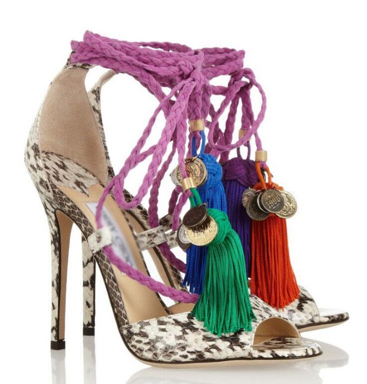Fashion Damenss tassels heel strap open toe Sandales stilettos high heel tassels Leder schuhe 8febcd