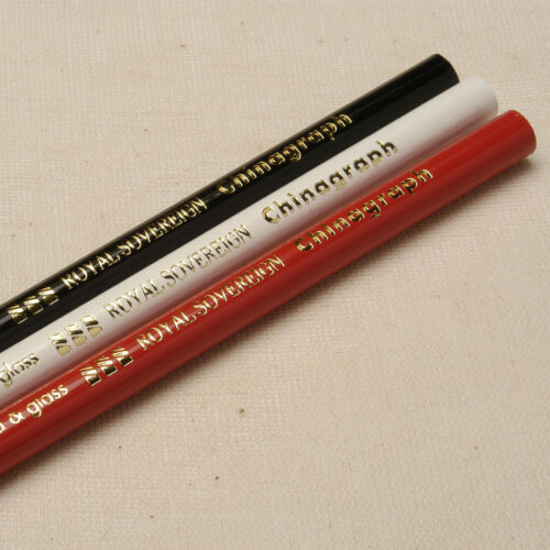 Red Black White 3 Chinagraph Pencils for writing on Glass and hard Surfaces