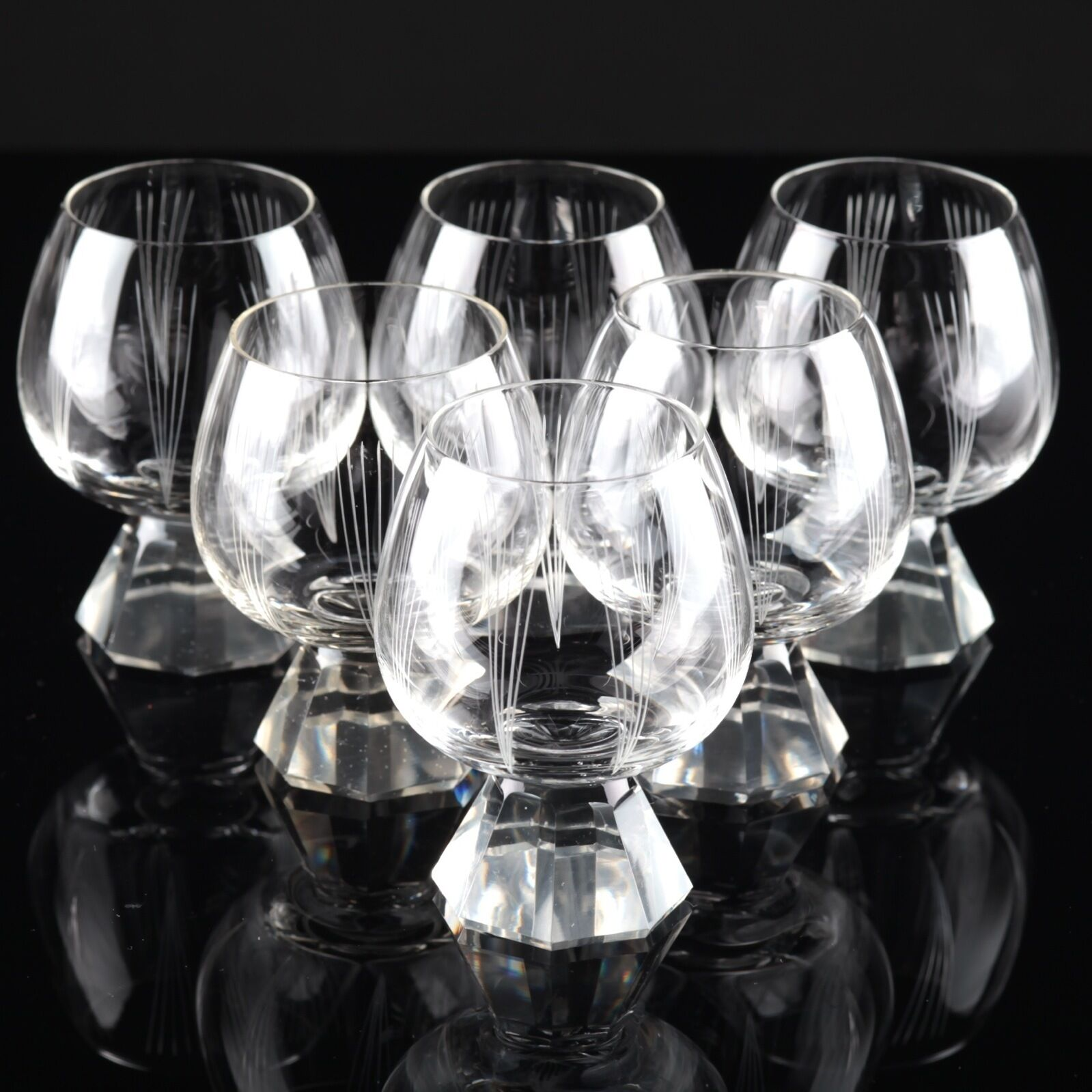 6 Vintage Cognacgläser Friedrich Kristall Glas Linien Gravur Strahlen Gläser F | Billig