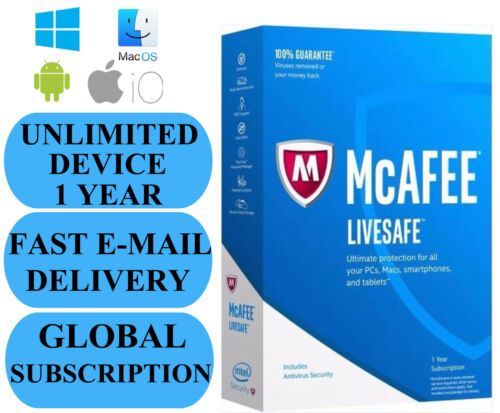 2019 NO KEY CODE! SUBSCRIPTION McAfee LiveSafe UNLIMITED DEVICE 1 YEAR
