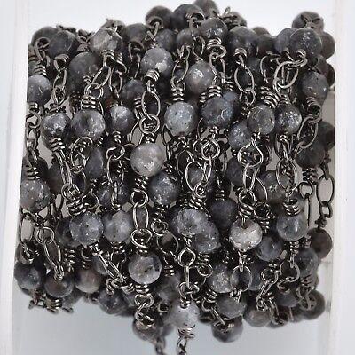 3ft MATTE AMAZONITE GEMSTONE Rosary Chain 4mm round beads fch0750a gunmetal