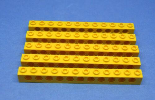 LEGO 5 x Technik Technic Lochstein Lochbalken 1x12 gelb yellow brick 3895 389524