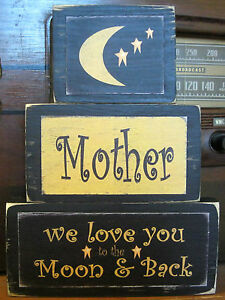 Mother-We-Love-You-Primitive-Rustic-Handmade-Stacking-Blocks-Wooden-Sign-Set