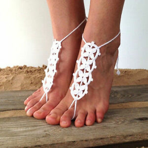 eadd85697 Image is loading 2pc-Crochet-Barefoot-Sandals-Beach-Bohemian-Wedding-White-