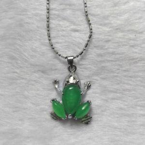 Inland-Green-Gift-Silver-Tibet-Pendant-Jade-Necklace-Frog