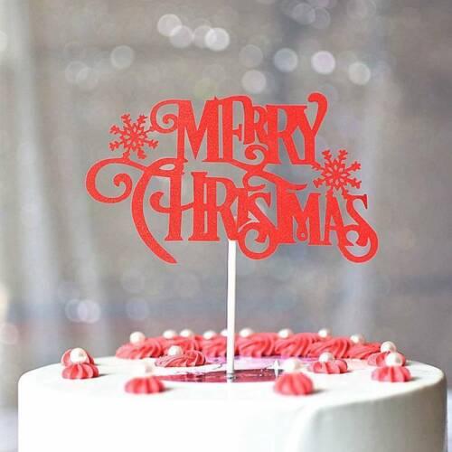 5//10x Merry Christmas Glitter Letter Cake Topper Paper Xmas Party Decor i123