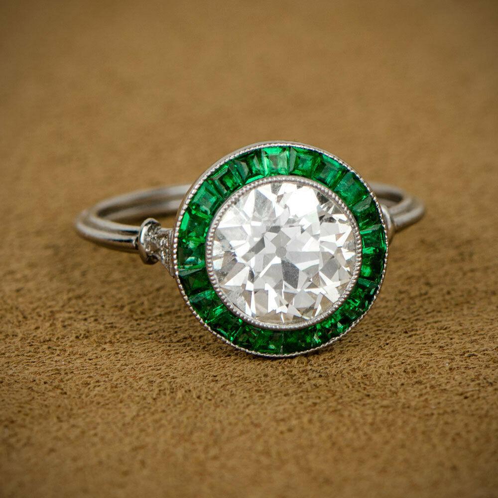 Vintage Art Deco Round 2.45 ct Diamond Sapphire Antique Engagement Ring 6odxG