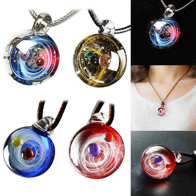 Water Hep Glow Necklace Double Sided Glass Ball Pendant Necklace for Women Men Long Chain Solar System Galaxy Planet Universe Necklace Glow in Dark 4