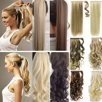 US 100% Real New Clip In Hair Extension Pony Tail Wrap