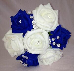 Artificial wedding flowers whiteroyal blue flower girl bouquet foam image is loading artificial wedding flowers white royal blue flower girl mightylinksfo