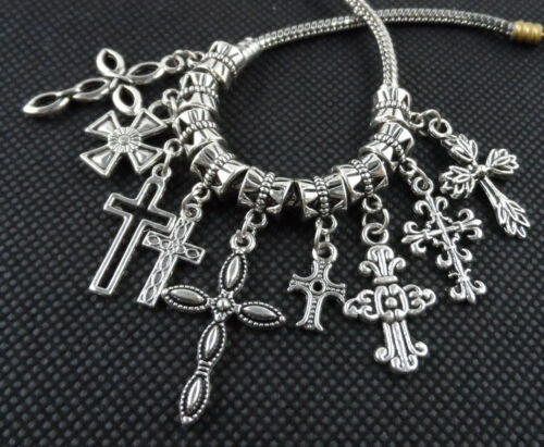 """Free Mixed Tibetan Silver""""Cross""""Charms Pendant Beads For Bracelet Finding DIY"""