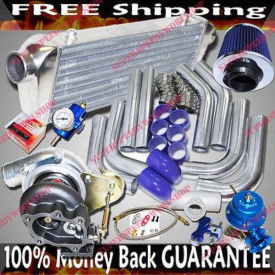 """GT28 Universal Turbo Kits 2.5"""" Intercooler +Piping+BOV+Fuel Regulator+Air Filter"""