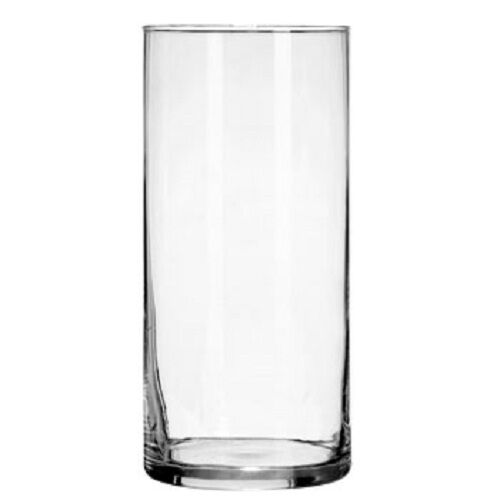 Lot of 12 Cylinder Glass Vases 7 1 4 in. tall 3 1 4 in. Diameter.