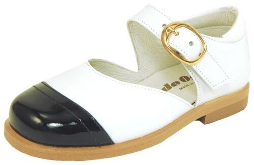 Girls Euro White Leather Black Patent Dress Shoes DE OSU S-5001O Size 7-9