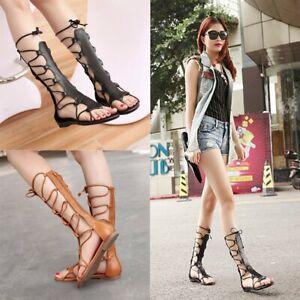 Women Fashion Knee High Gladiator Sandal Cut-Out Strappy Flat Sandal Shoes wM