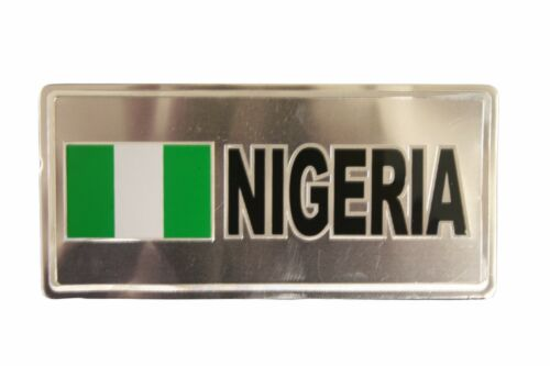NIGERIA COUNTRY FLAG-SILVER LICENSED STICKER FLAG PLATE..SIZE 6 X 3 INCH