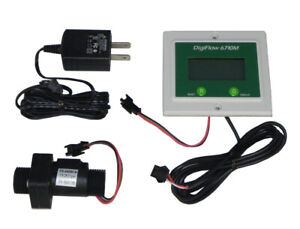 """Panel 1/"""" Digiflow 6710M-88TM Digital Flow Meter count up Gallons GPM 115V cord"""