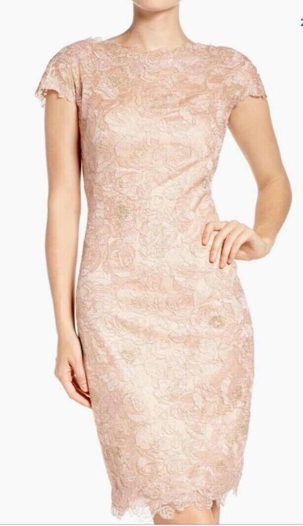 NEW Tadashi Shoji pink Motif Sheath Dress in Petal gold - Size 16