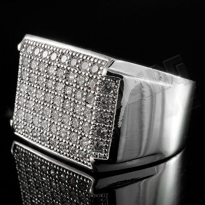 18K White Gold Silver Iced Out HipHop Wedding Bling MICROPAVE CZ Mens Pinky Ring