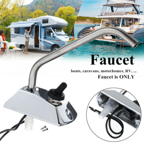 360° Rotation Caravan Boat Motorhome Galley Bathroom Faucet Tap w//Switch Kit 12V