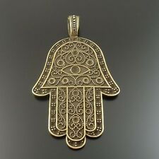 3X Vintage Style Antiqued Bronze Tone Hamsa Hand Pandent Charms 58*42*3mm