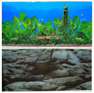 "Aquarium Fish Tank poster 16""H Background Double sided picture black stone 2."