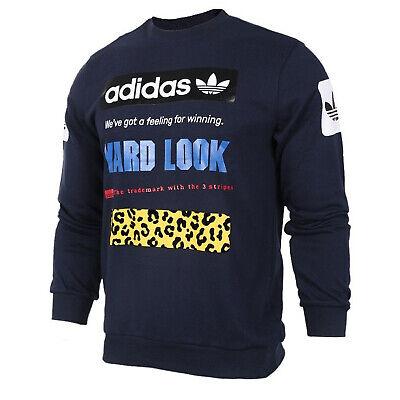 adidas Originals Street Graphic Crew Herren Sweatshirt CF5391 Trefoil Leo Blau | eBay