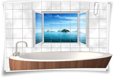 Fliesenaufkleber Fliesenbild Fliesen Bullauge Wasser Meer Insel Aufkleber Bad