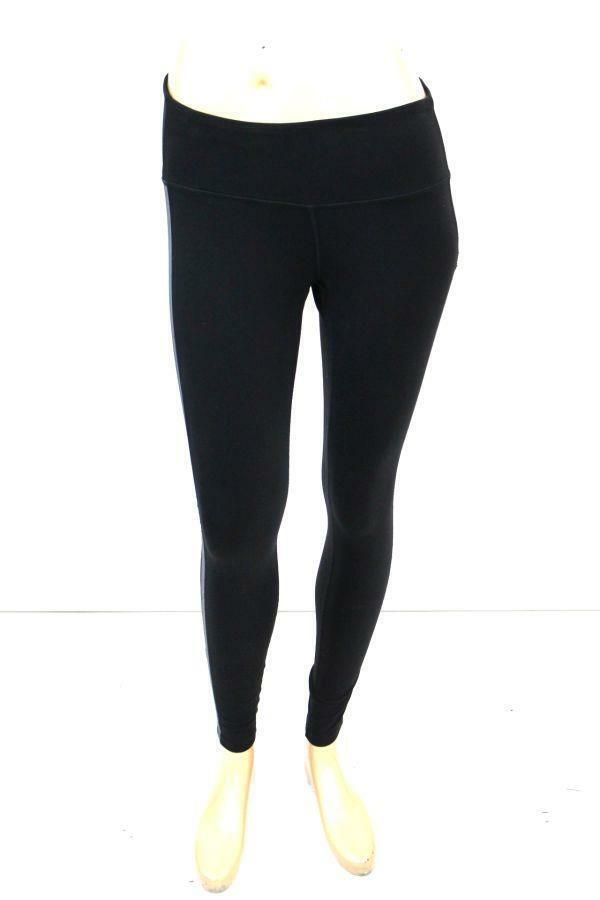 ATHLETA Black Gray Side Stripe STRETCH LEGGINGS Athletic Modern Casual Womens S