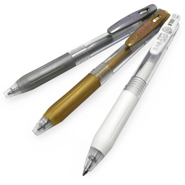 Zebra Sarasa Clip Gel Rollerball Pen - 1.0mm - Metallic Gold/ Silver + 0.5 White