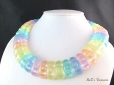 Vintage Pastel Rainbow Color Lucite Collar Choker Necklace
