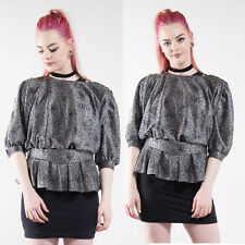 VINTAGE 80'S SILVER GLITTER BLOUSE TOP SCOOP NECK GLAM GOING OUT STUDIO 54 8 10