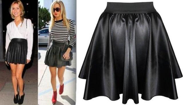 Women Black Faux Leather PVC Wet Look High Waist Flared Skater Mini Skirt 8-14