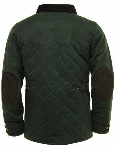 Black Olive Green Men/'s Game Oxford Quilted Wax Jacket