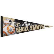 """NEW ORLEANS SAINTS STAR WARS BB-8 THIS IS HOW I GEAUX SAINTS PENNANT 12""""x30"""" NEW"""