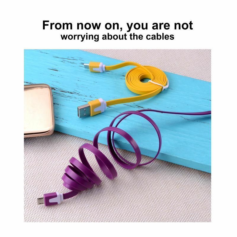 1 Pcs Micro USB Flat Sync Noodles Charger Cable Cord For Android Smart Phone 16