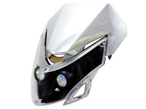Motorcycle-Chrome-Head-Light-Fairing-Dual-Sport-Street-Fighter-Naked-Bike-Custom