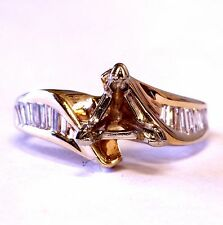 14k yellow gold VS1 G .48ct semi-mount baguette diamond engagement ring 4.7g