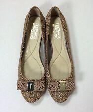 SALVATORE FERRAGAMO Damen Schuhe Gr 40 Gold Braun Ballerinas Flats Glamour Girl