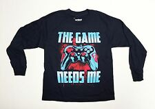 The Game Needs Me Youth Small 8 Navy Blue Long Sleeve T-Shirt  Funny