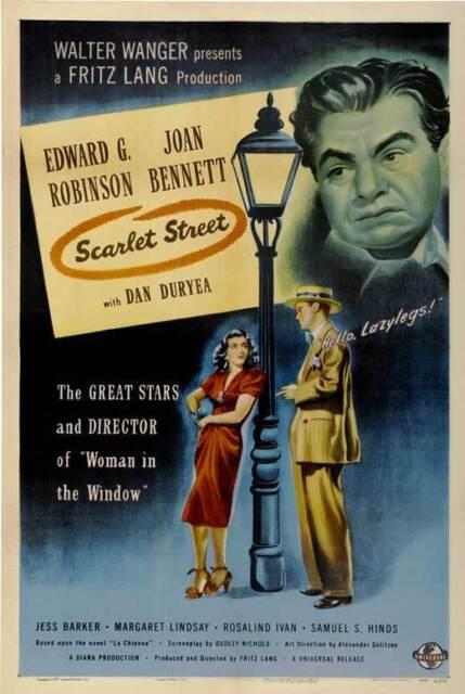 SCARLET STREET Movie POSTER 27x40 C Edward G. Robinson Joan ...