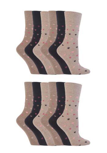 12 pairs Ladies SockShop Cotton Gentle Grip 4-8 uk Socks Neutral Hearts RH48