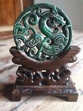 amulette disque dragon ethnique ancien jade néphrite Tibet bouddha statue