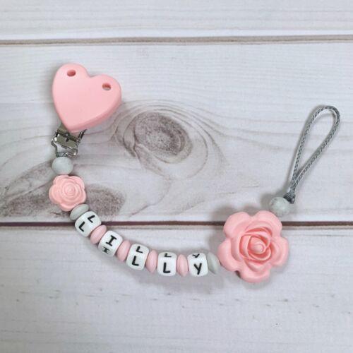 Schnullerkette Beißkette Nuckelkette mit Namen rosa grau hellgrau Silikon
