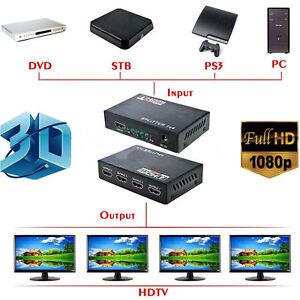 Full-HD-HDMI-Splitter-1X4-4-Port-Hub-Repeater-Amplifier-v1-4-3D-1080p-1-In-4-OSQ