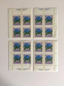 Canada Postage Stamp BOTTLE GENTIAN Inscription Corner Block Set MNH #781 #705