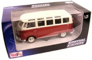 Modellauto 1:25 VW Bus T1 Samba rot//weiß Maisto