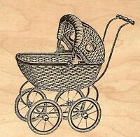 Baby Carriage, Wood Mounted Rubber Stamp Judikins, - 3367f