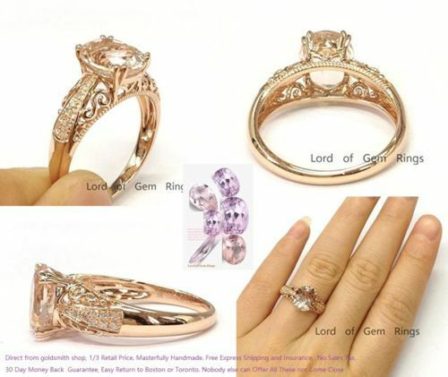 Diamonds Oval Morganite Engagement Wedding Bridal Ring Solid 14K pink gold